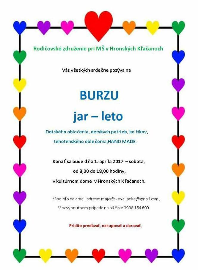 496089431b8a Rodičovské združenie pri MŠ v Hronských Kľačanoch organizuje BURZU JAR -  LETO detského oblečenia